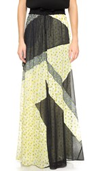 The Kooples Patchwork Print Skirt Yellow Multi