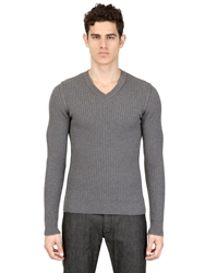 Dolce And Gabbana Ribbed Merino Wool V Neck Sweater Grey