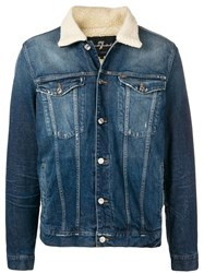 7 For All Mankind Faux Shearling Trucker Jacket Blue