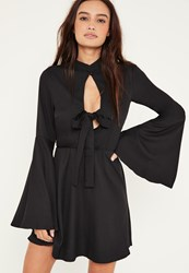 Missguided Black Flared Sleeve Tie Front Skater Dress