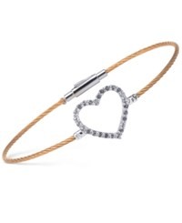 Charriol Women's Laetitia White Topaz Accent Heart Two Tone Pvd Stainless Steel Bendable Cable Bangle Bracelet Two Tone