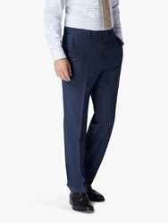 Jaeger Mini Grid Wool Regular Fit Suit Trousers Blue
