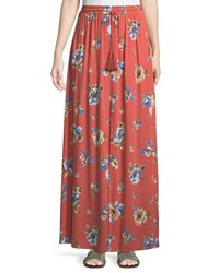 Lost Wander Halow Floral Maxi Skirt Pink