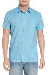Kahala Surf Bus Trim Fit Print Sport Shirt Sky Blue