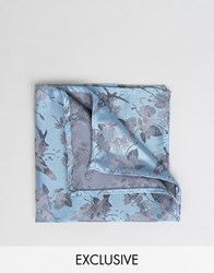 Noose And Monkey Jacquard Pocket Square In Floral Print Light Blue