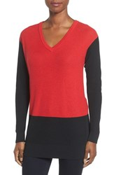 Vince Camuto Women's Colorblock Waffle Stitch V Neck Sweater Fire Glow
