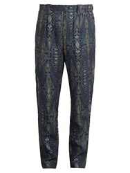 Etro Tribal Print Linen Trousers Navy Multi