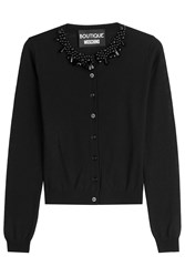 Boutique Moschino Embellished Virgin Wool Cardigan Black