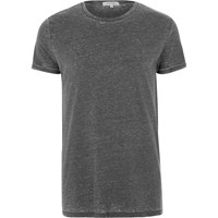 River Island Mens Grey Burnout T Shirt