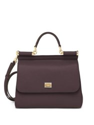 Dolce And Gabbana Sicily Medium Textured Leather Top Handle Satchel Caramel Wine