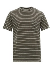 Rag And Bone Owen Jacquard Striped Linen T Shirt Black Multi