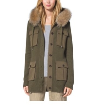 Michael Kors Fox Fur Trimmed Cotton And Cashmere Hoodie Juniper