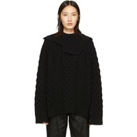 Raf Simons Black Aran Collar Sweater