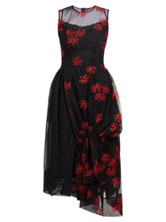 Simone Rocha Floral Embroidered Tulle Dress Black Red