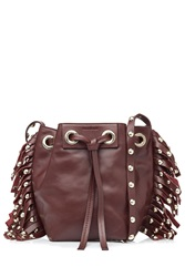 Vanessa Bruno Leather Small Fringed Bucket Bag Red