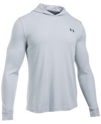 Under Armour Men's Waffle Thermal Hooded Shirt Air Force Gray Heath