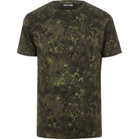 Only And Sons River Island Mens Dark Green Print T Shirt