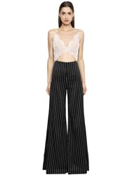 Vatanika Lace And Stretch Pinstriped Jumpsuit