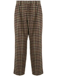 Kolor Checked Wool Blend Trousers Brown