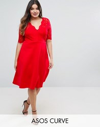 Asos Curve Midi Skater Dress With Scuba Skirt And Lace Top Red