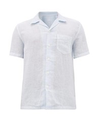 120 Lino Cuban Collar Linen Poplin Shirt Blue