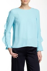 Cynthia Steffe Long Sleeve Solid Georgette Blouse Blue