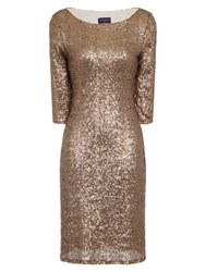 Hotsquash Long Sleeved Dress With Sequin Trim Gold Metallic