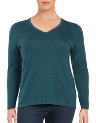 Lord And Taylor Plus Solid V Neck Tee Teal Heather