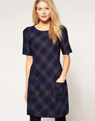Oasis Checked Shift Dress Blue