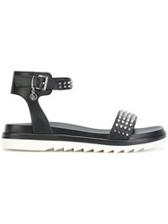 Armani Jeans Chunky Sole Studded Sandals Women Artificial Leather Rubber 39 Black