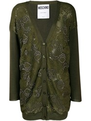 Moschino Floral Bead Embroidered Cardigan Green