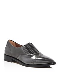 Aquatalia By Marvin K Gayle Metallic Pointed Toe Loafers Anthracite