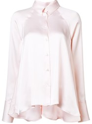Rosie Assoulin Satin Button Down Shirt Pink And Purple