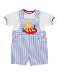 Florence Eiseman Fish Out Of Water Seersucker Overalls W Matching Tee Size 3 24 Months Blue White