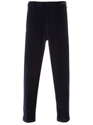 Pt01 Ribbed Stretch Velvet Trousers Blue