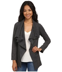 Bobeau Fleece Waterfall W Zipper Charcoal Grey Women's Jacket Gray