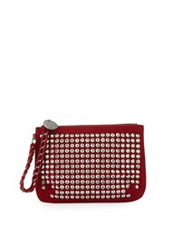 Neiman Marcus Crystal Faux Suede Wristlet Red