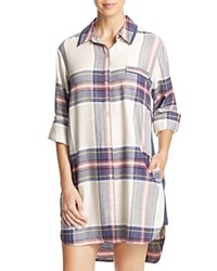 Dkny Intimates Long Sleeve Flannel Boyfriend Sleepshirt Frappe Heather Plaid