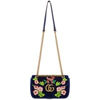 Gucci Blue Small Velvet Embroidered Gg Marmont 2.0 Bag