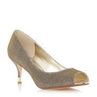 Dune Denise Peep Toe Kitten Heel Court Shoe Gold