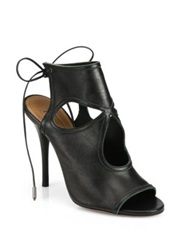Aquazzura Sexy Thing Lace Back Leather Sandals Black