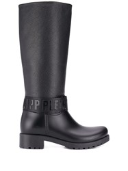 Philipp Plein Logo Strap Knee High Boots Black