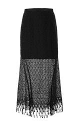 Saloni Bibi Fringed Lace Skirt Black