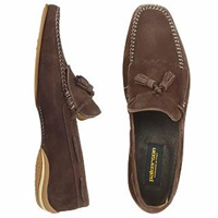 Pakerson Dark Brown Italian Hand Made Suede Leather Tassel Loafer Shoes