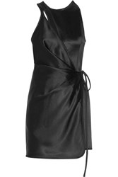Alexander Wang Wrap Effect Cutout Satin Mini Dress Black