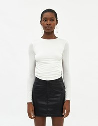 Which We Want Long Sleeve Olivia Top In White Size Small Spandex