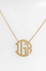 Argentovivo Personalized 3 Initial Block Monogram Necklace Nordstrom Online Exclusive Gold