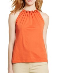 Lauren Ralph Lauren Beaded Halter Top Bali Orange