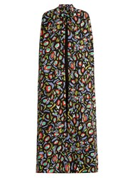Duro Olowu Abstract Bird Print Crepe Long Cape Black Multi