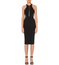 David Koma Fitted Lace Up Pencil Dress Black